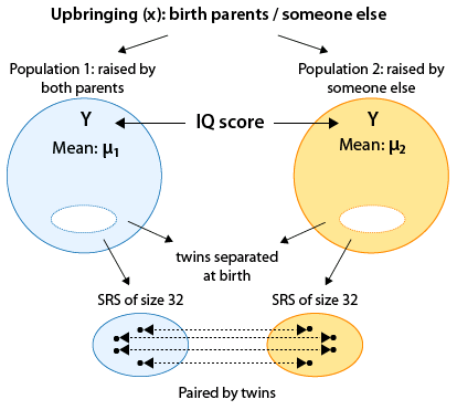 The variable X takes on two categories: Upbringing by birth parents or someone else. These two categories form population 1 and population 2. For each population, we have a IQ (Y) mean, μ_1 for population 1 and μ_2 for population 2. We generate the samples in matched pairs by using the relationship of twins separated at birth. So, we generate an SRS of size 32 for population 1 and also one of size 32 for population 2 using this relationship, paired by twins.